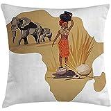 ONGH Safari Dekokissen Kissenbezug, Afrika Karte traditionelle lokale Lady Savannah Ceremony...