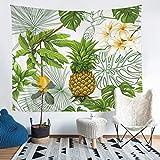 Tapiz de mango de piña para niños y niñas con frutas tropicales para colgar en la pared, hoja de palma, manta de cama, colección de ropa de cama, tamaño mediano 51 x 59
