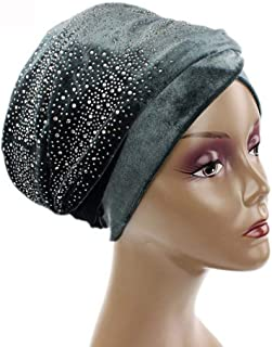Fashian Lady Crystal Velvet Muslim Turban Pleated Head Wrap Scarf Long Tail Hat Pre Tied Headwear Cancer Chemo Cap WJ-13 (Color : 8, Size : 170 * 26)