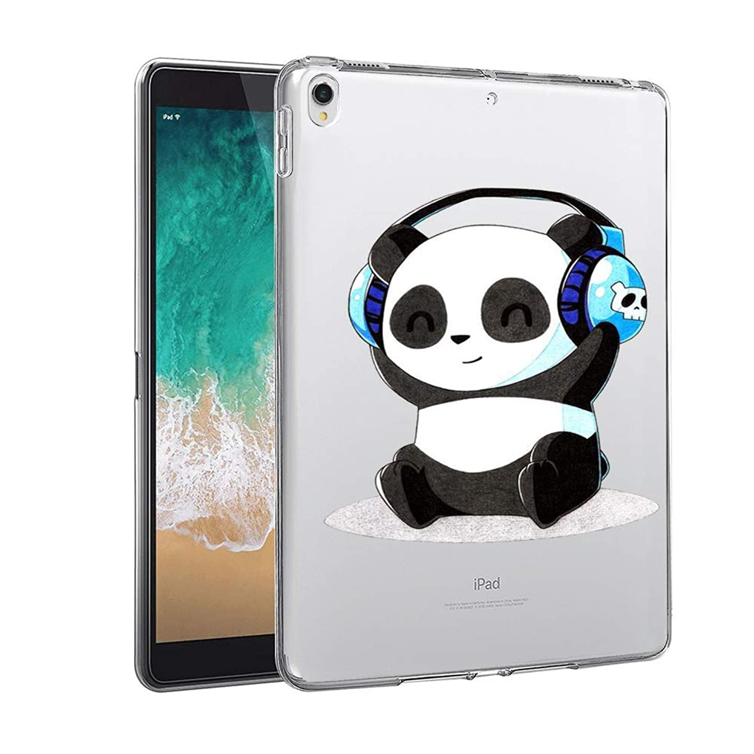 GinHo Customized Protective Cover iPad Pro 12.9 inch 2018 Panda with Slim Soft Durable TPU Ultra-Clear Silicone UV Printing Case