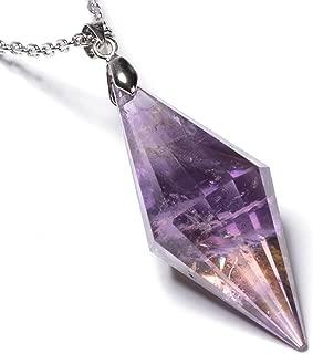 石輝 天然石 アメジスト 紫水晶 クリスタル ポイント ペンダントネックレス ペンデュラム[n487]