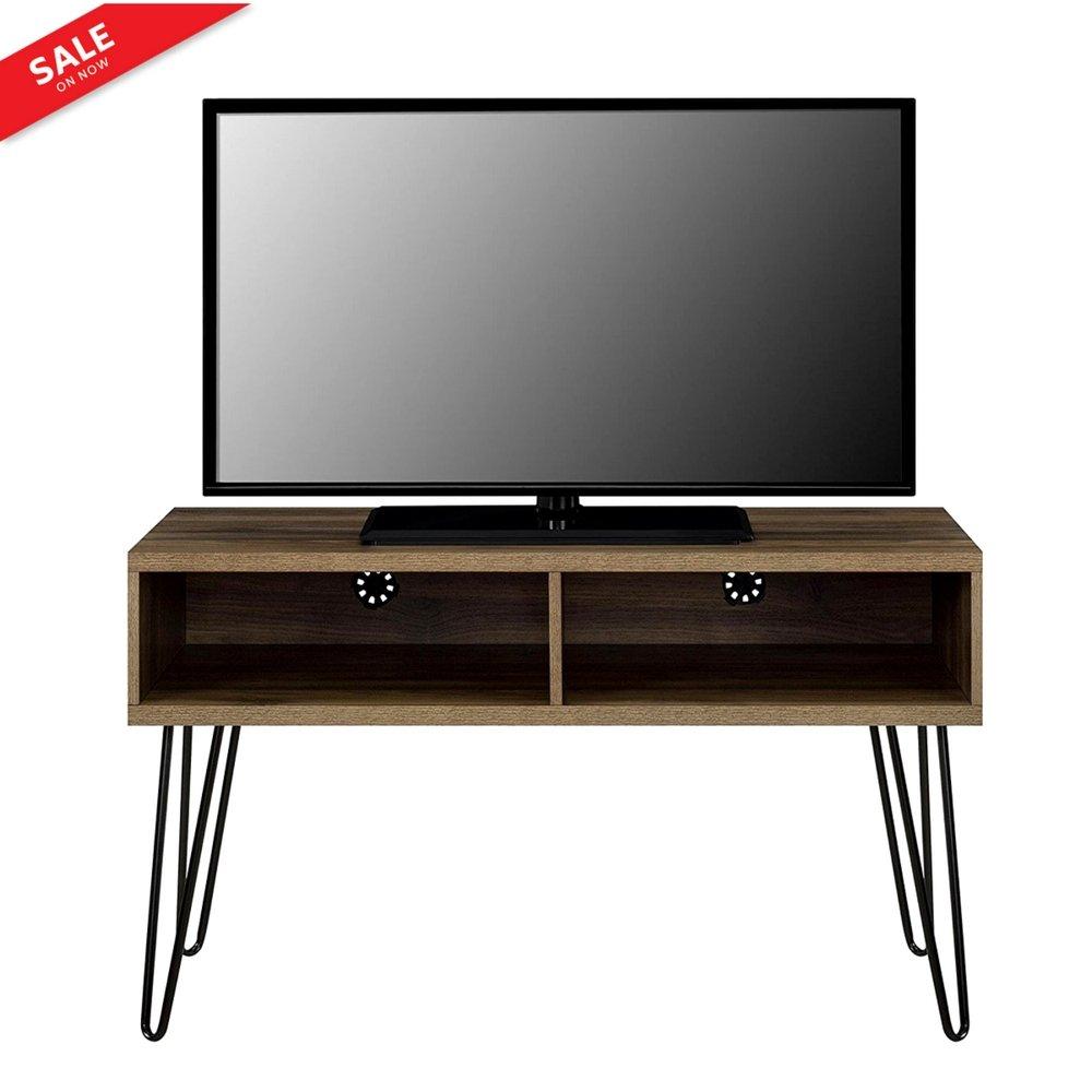 BADA Shop - Soporte de TV industrial para almacenamiento de TV y mesa de café, soporte para DVD, CD y almacenamiento, color marrón, diseño vintage, patas de metal y libros electrónicos: Amazon.es: