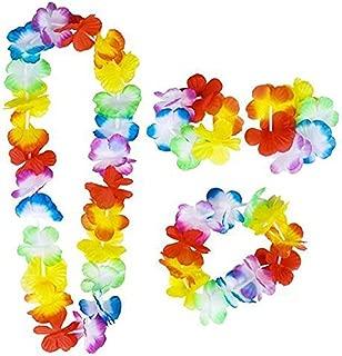 Xuanhemen 4PCS/Set Hawaiian Leis Set Flower Garland Luau Necklace Headband Wristband Hula Party Lady Men Dance Garland