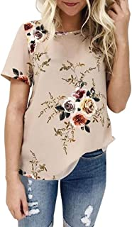 WOCACHI 2020 Tops for Womens, Plus Size Floral Blouses T-Shirt Short Long Sleeve Flowy Chiffon Summer Fall Tee Shirts