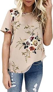 WOCACHI 2020 Tops للنساء، زائد حجم الأزهار البلوزات تي شيرت قصير الأكمام الشيفون فضفاض الصيف الخريف تي شيرت