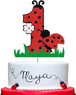Ladybug 1st Birthday Cake Topper, Red Glitter Ladybug One Cake Topper, First Birthday Cake Topper for Ladybird Themed One ...