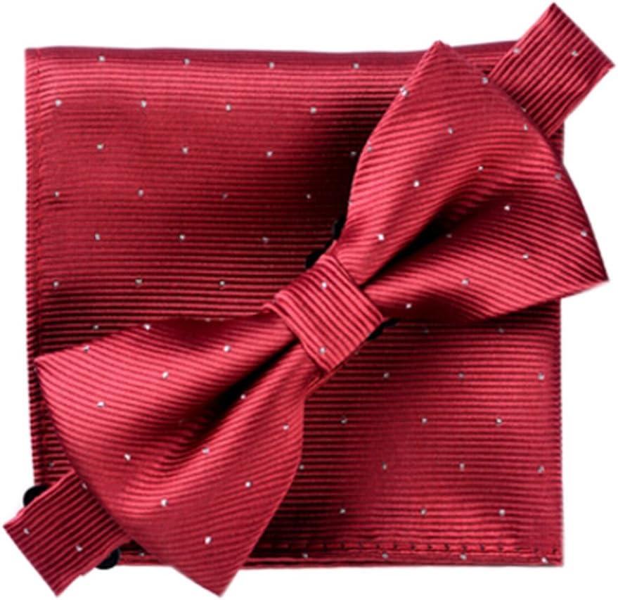 Alien Storehouse Elegant Bow Tie Set Pocket Square for Men's Party/Business Wear, Wine Red