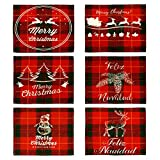 Christmas Placemats Set of 6--Red and Green Cotton Placemats with Reindeer Christmas Tree, Waterproof and Easy-Clean Table mats for Christmas Holiday Table Decoration (12.2x15.8in)