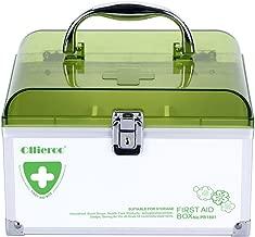 AZDENT Ollieroo Lockable Medication Box Organizer Small Medicine Lock Box with Compartments Childproof Prescription Storage Box 8.46×5.87×5.51 inch Green