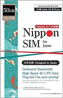 【使用期限:2021/12/31】Nippon SIM for Japan 日本国内用 50GB (容量に達るとサービス終了) 3-in-1 (標準/マイクロ/ナノ)データ通信専用 (音声&SMS非対応) 4G/LTE SIMカード / 海外大...