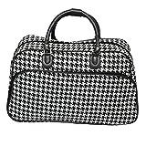 World Traveler 21-Inch Carry-On Shoulder Tote Duffel Bag, Black Trim Houndstooth, One Size