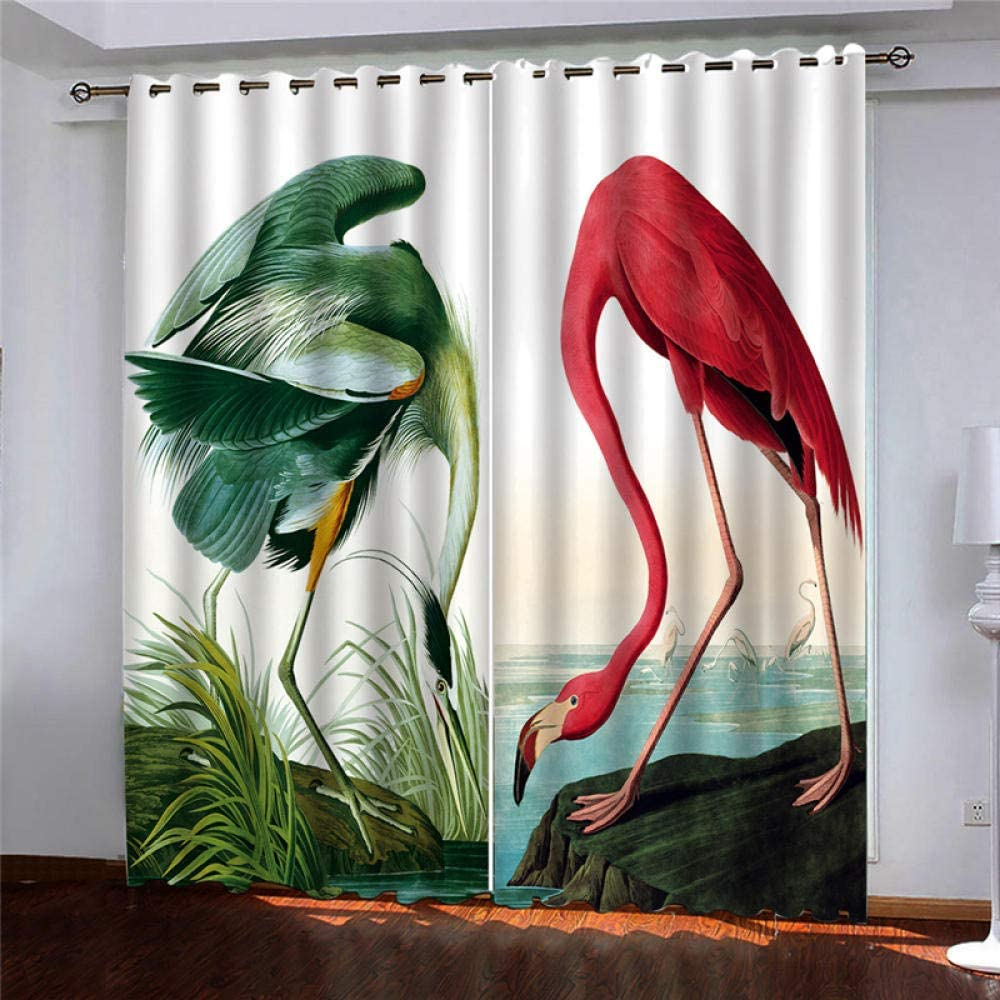 TFNIMB 3D Blackout Daily bargain sale Curtains Red Flamingo Long Beach Mall Room Bedroom Living Win