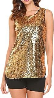 YIhujiuben Women's Glitter Tank Tops Sleeveless Sparkle Shimmer Camisole Vest