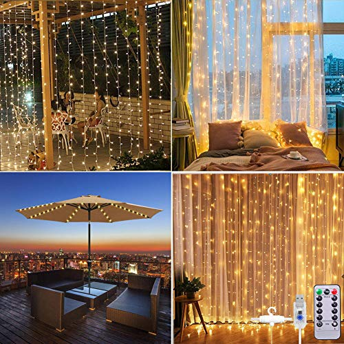 LED Curtain Lights, 3M × 3M Fairy Light Waterproof Copper Umbrella String Lights for Outdoor Indoor Wedding Party Bedroom