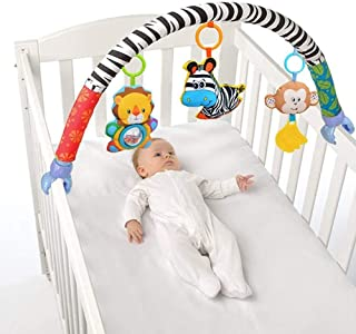 AKDSteel Baby Travel Play Arch Stroller/Crib Accessory Cloth Animmal Toy and Pram Activity Bar with Rattle/Squeak/Teethers...