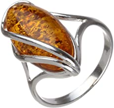 HolidayGiftShops Sterling Silver and Baltic Honey Oval Amber Ring Micaela