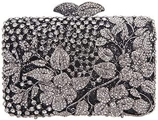 Fawziya Kisslock Flower Purses With Rhinestones Crystal Clutch Evening Bag