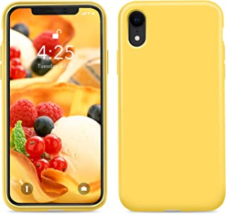 """Goutoday iPhone XR Cases, Slim Liquid Silicone Soft Rubber Shockproof Protective Case Cover Compatible with iPhone XR 6.1"""" Soft Microfiber Lining with Full Body Protective Case Cover 6.1"""" Yellow"""