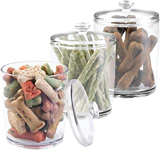 mDesign Tall Plastic Pet Storage Canister Jar with Lid - Holds Dog/Puppy Food, Treats, Toys, Medical, Dental and Grooming Supplies - Medium - 3 Pack - Clear