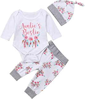 Newborn Baby Girls 3pcs Outfit Set Auntie's Bestie Romper + Floral Pants Clothing Set