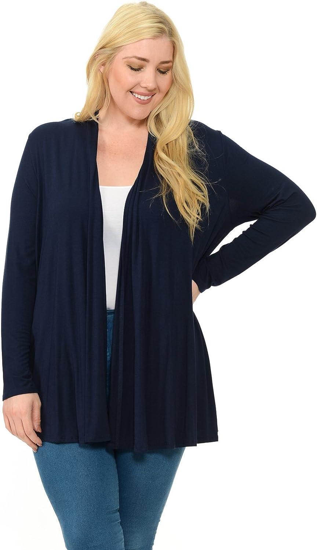 Pastel by Vivienne Women's Long Sleeve Jersey Plus Size Cardigan