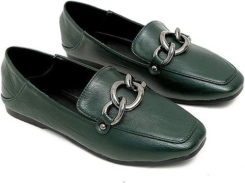 Mocassins à pédale Noirs Femmes PU Souple Souple Décontracté Chaussures Plates et Confortables Tête carrée Talon épais Chaussures Sauvages élégantes Antidérapant résistant à l'usure  différentes tailles