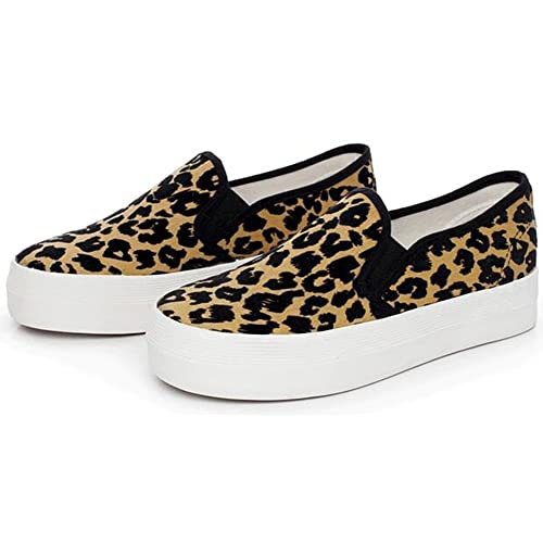 620692c131fe Summerwhisper Women's Trendy Leopard Elastic Low Top Canvas Loafers  Platform Skate Sneakers