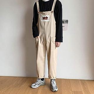 Boy Fashion Bib Overalls Couple Wear Loose Jumpsuit Dungarees Casual Nine-Point Pants Japanese Suspenders,Beige,L
