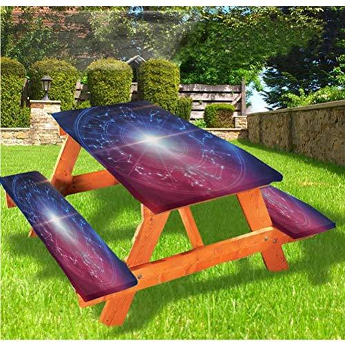 LEWIS FRANKLIN cortina de ducha astrología mesa de picnic y banco, mantel ajustable, con puntos conectados y bordes elásticos, 60 x 172 pulgadas, juego de 3 piezas para mesa plegable