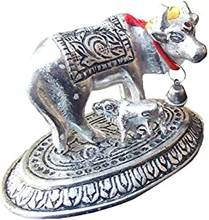 GAU MATA, COW & CALF IDOL STATUE, HINDU RELIGIOUS KAMADHENU COW ASTHADHATU HOME DECOR BEST FOR HOUSE WARMING AND RETURN GIFT, COW AND CALF, SILVER IMITATE ( 3.5 X 2.5 X 2 .0 INCHES)