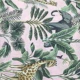Tela por metros de loneta estampada - Ancho 280 cm - Largo a elección de metro en metro | Selva. Elefantes y jirafas - Rosa, verde