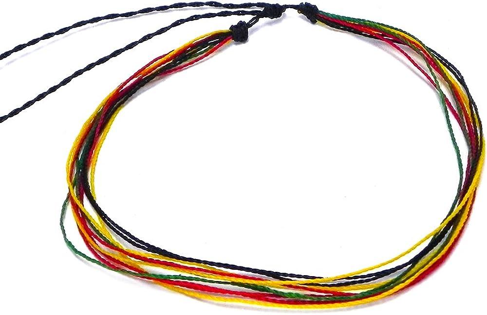 Mia Jewel Shop Multicolored Multi Strand String Pull Tie Choker Adjustable Waterproof Necklace - Unisex Surfer Fashion Handmade Jewelry Boho Accessories