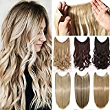 Secret Wire in Hair Extensions Straight Curly Wavy Hair Extension Long Hairpiece Blonde Brown Black Color For Women 20' Curly - Medium brown