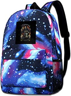 Galaxy Printed Shoulders Bag Grim Reaper With Hourglass Fashion Casual Star Sky Backpack For Boys&girls
