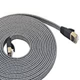 LanYunUmi Cat7 82ft Ethernet Cable Nylon Braided Cnet cat 7 82FT InterCable Cable RJ45 Network Cable Cat7 LAN Cable for PC Mac Router Laptop LAN Cable for PC Laptop Modem Router Cable Ethernet (82FT)