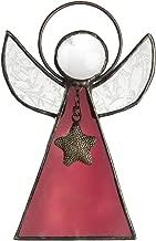 J Devlin Orn 215 Series Stained Glass Angel Ornaments Window Christmas Tree Decor Gift (Dark Rose)