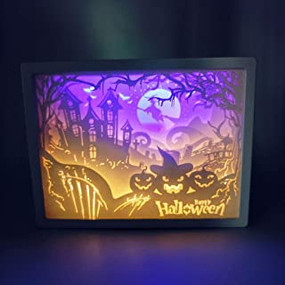 3D Paper Carving Lamp, Creative Cut 3D Shadow Box LED Light Paper Sculptures Papercut Light Box Night Lamp Paper Pattern Painting LED Color Shadow Box Frame - Halloween Festival Decor