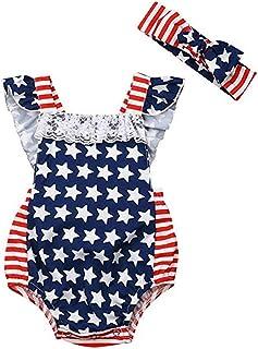 Greetuny Newborn Baby Girls Bodysuit American Flag Star Printed Body Headband Outfits Sleeveless Baby Jumpsuit Clothes