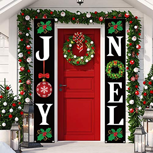 Whaline Christmas Door Decoration Joy Noel Porch Signs Banner Christmas Hanging Banner Black Large Xmas Holiday Decoration for Indoor Outdoor Front Door Yard Farmhouse Party Supplies, 12' x 72'