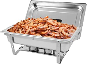 Restlrious 8 QT Chafing Dish Buffet Set Stainless Steel Foldable RectangularChafer Full Size w/Water Pan, Food Pan, Fuel Holder and Lid 1 Pack