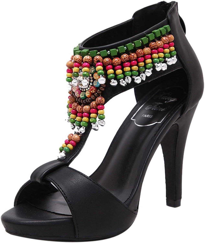 ONCEFIRST Women Dress Bohemia Beads Heel Pumps Sandal