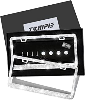 Tchipie 2 Pack Bling Rhinestone License Plate Frames for Women Girl, Bedazzled Sparkly Cute Diamond Car License Plate Frame, Glitter Crystal Tag Frame with Gift Box, Stainless Steel Frame