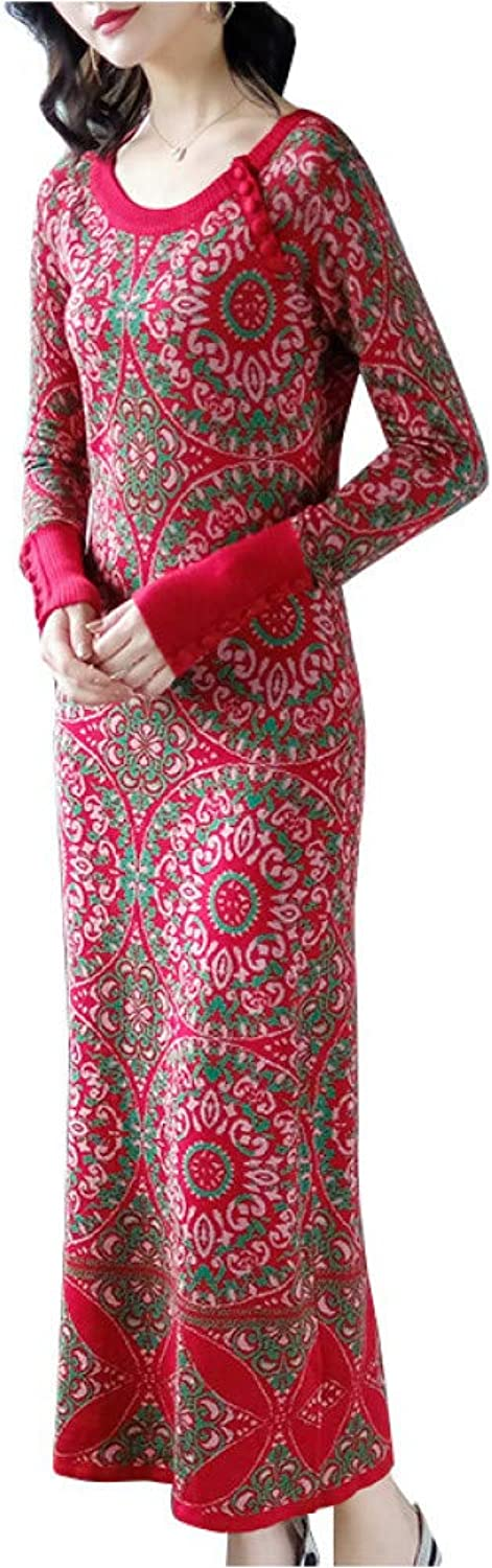 BINGQZ Cocktail Dresses Autumn and winter ethnic style retro knit long skirt slim embroidered long dress skirt female
