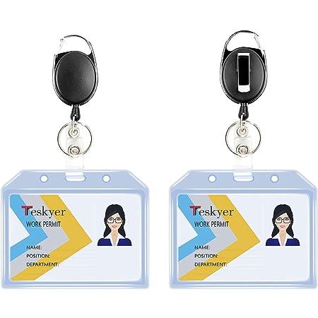 Teskyer Porte-badges rétractables durables, ensemble de porte-clés avec mousqueton et style, porte-badge d'identification horizontal, extra épais, doux, transparent, 2 pièces