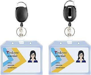 Teskyer Porte-badges rétractables durables, ensemble de porte-clés avec mousqueton et style, porte-badge d'identification ...