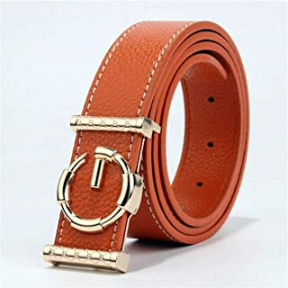 XHNMAO Belt Pin Buckle Ladies Leather Cowhide Retro Wild Belt Decoration Fashion Casual Belt (Color : Orange)