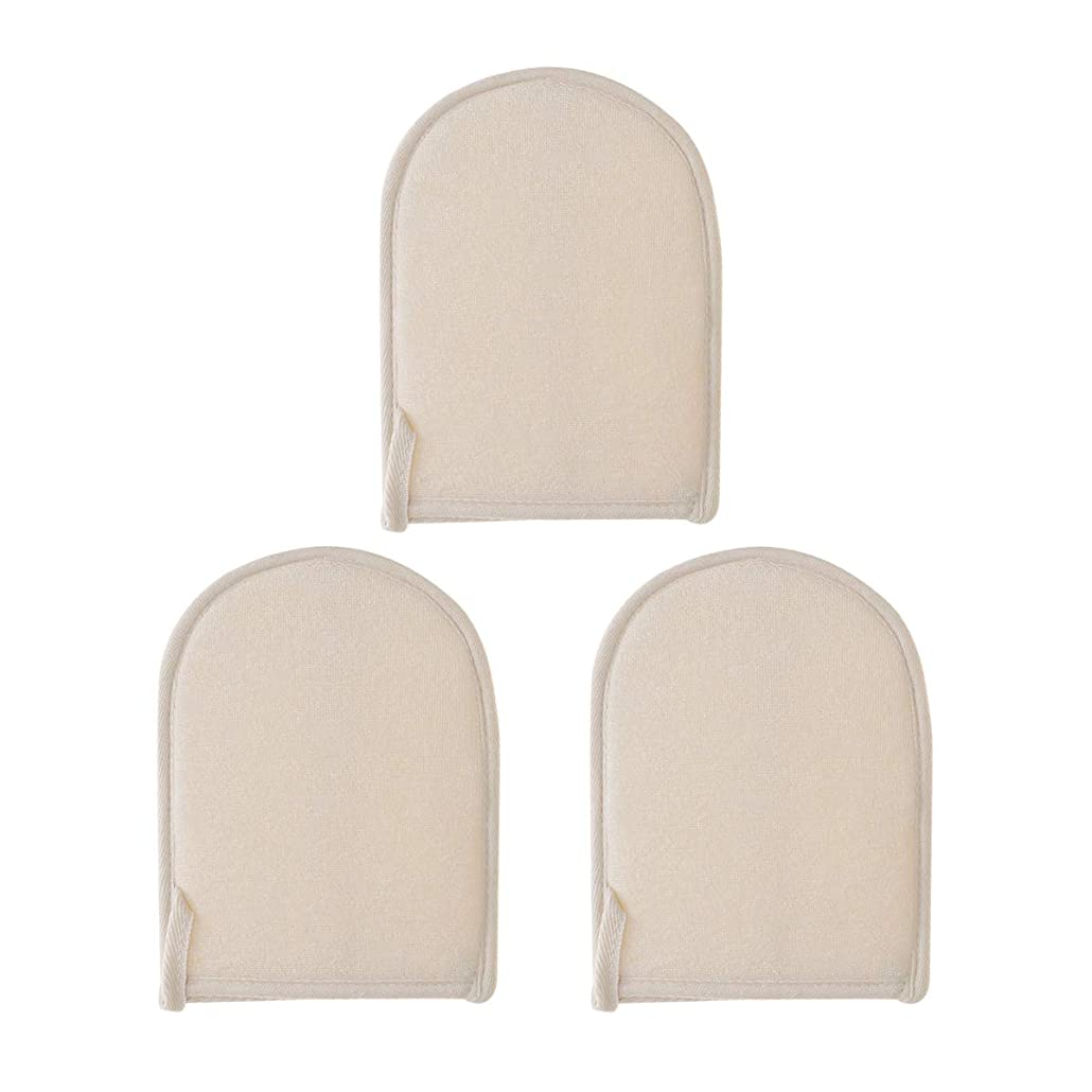 収入煙リズミカルなHEALIFTY ボディクリーニング手袋バス剥離手袋シャワースポンジスクラバー3個