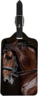 Coloranimal PU Leather Luggage Tags Suitcase Label 3D Animal Horse Printed Tag