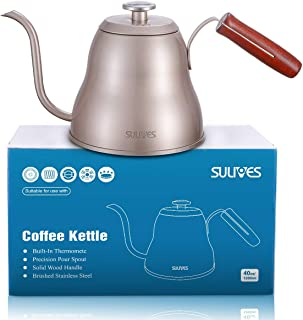 SULIVES 1.2L/40oz Stainless Steel with Built-In Thermometer Pour Over Coffee Kettle, Gold (Renewed)