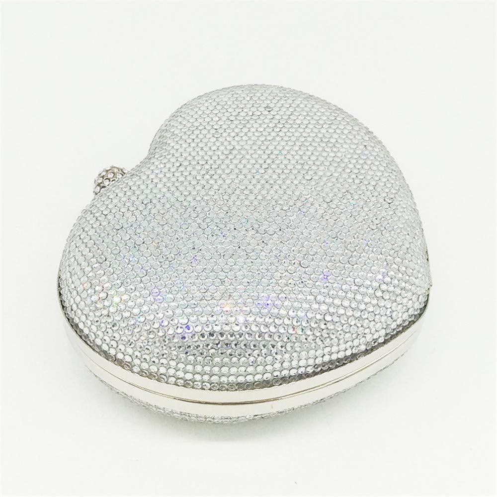 CaoDquan Sac de Soirée Les Femmes en Forme De Coeur en Cristal De Soirée Sac À Main Chaîne D'épaule Messenger Bag (Color : Pink) Silver